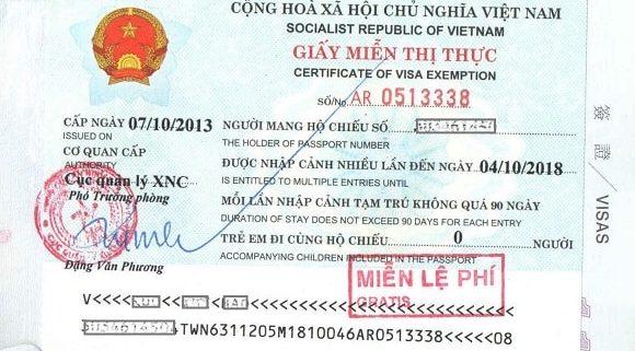 5 year Vietnam visa exemption