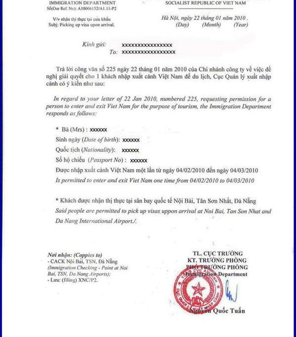 Vietnam approval letter